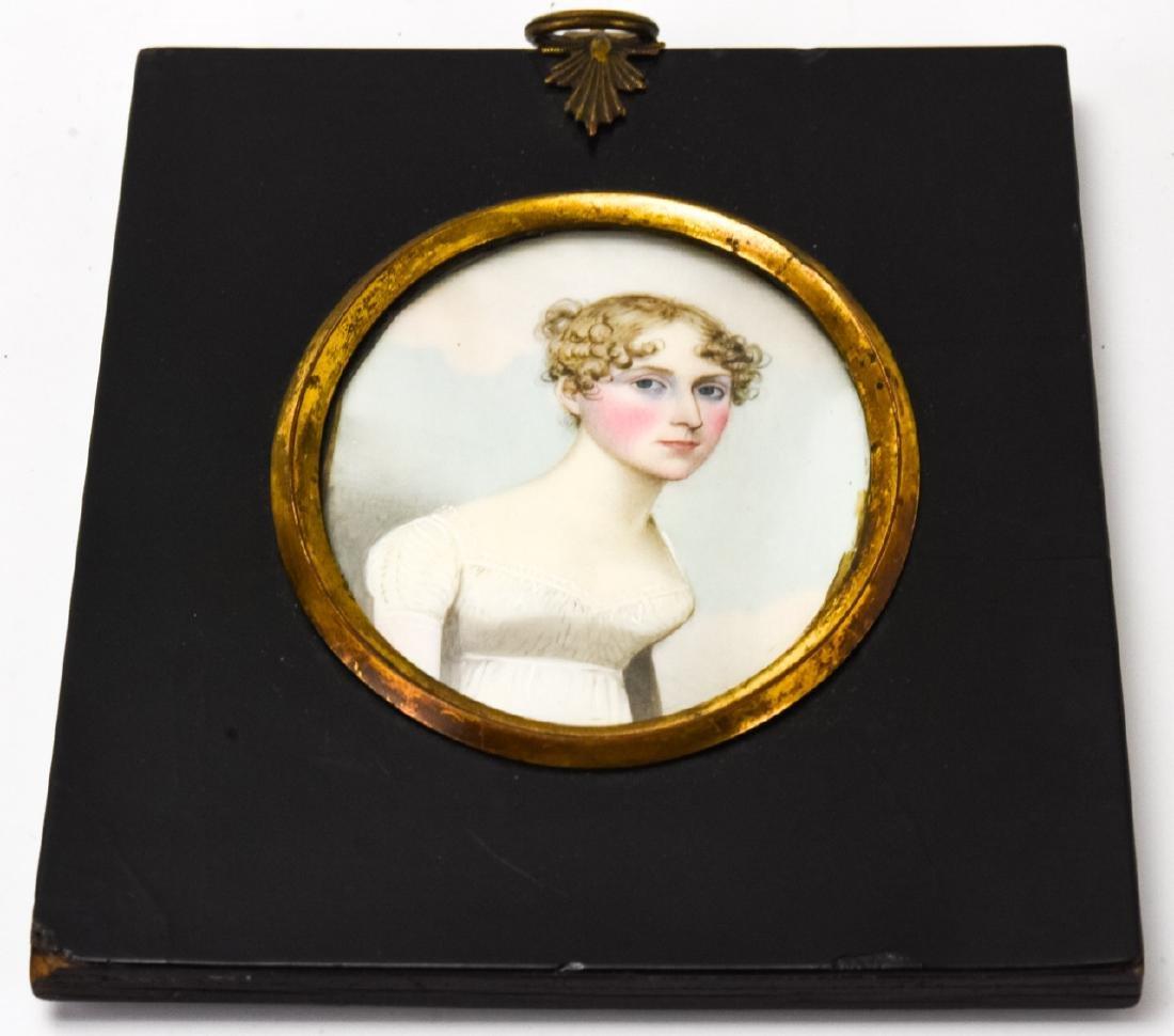 Antique 18th C Portrait Miniature of a Lady