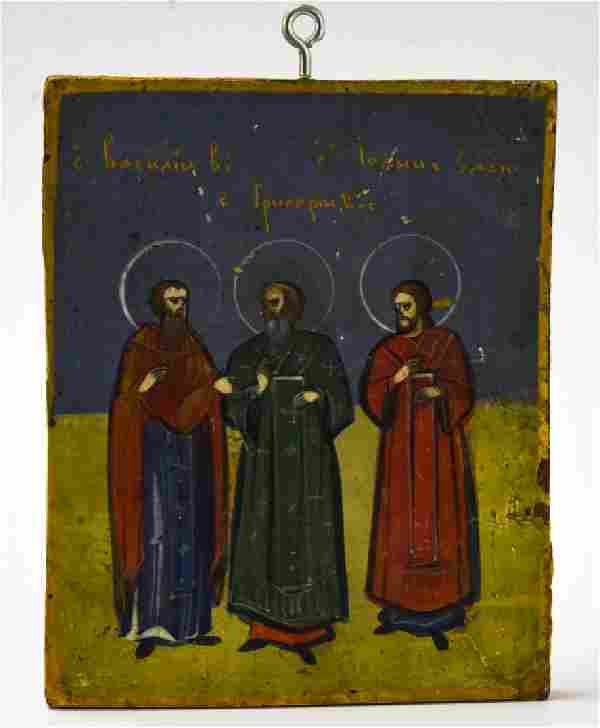 Antique Early 20th C Greek Icon Depicting 3 Saints