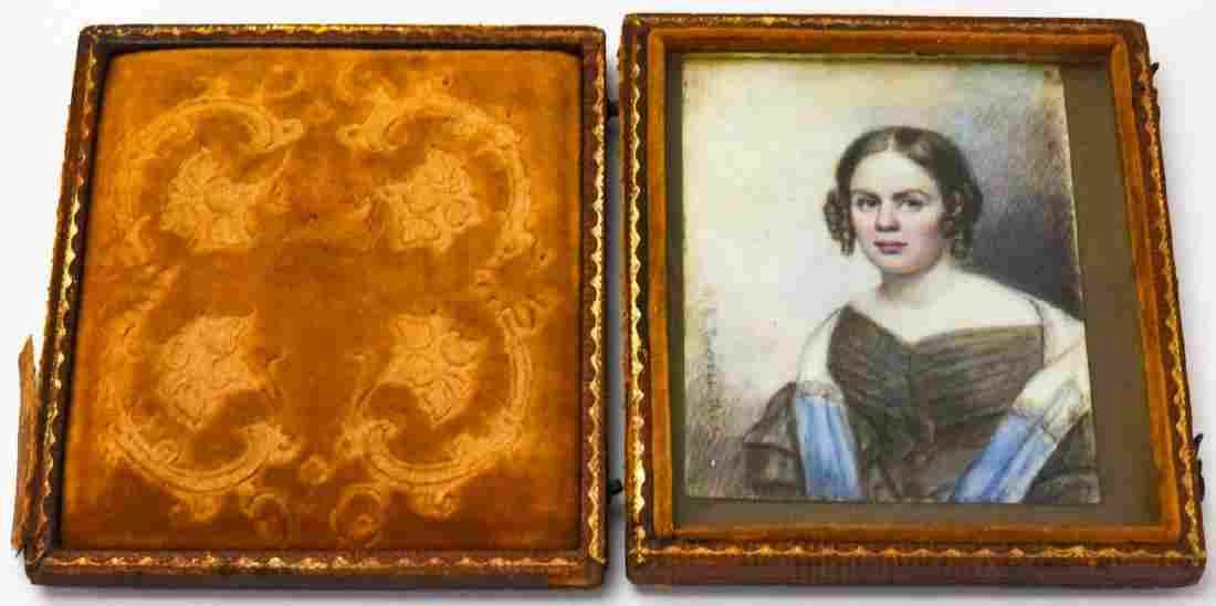 Antique 19th C Portrait Miniature of a Girl