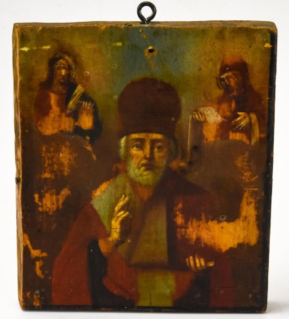 Antique 20th C Greek Icon of Bishop & Saints
