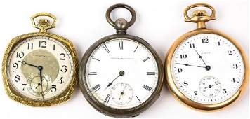 3 Coin Silver & Gold Filled Pocket Watches