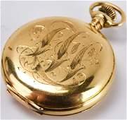 Waltham 14kt Gold  Diamond Ladies Pocket Watch