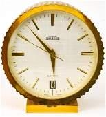 Angelus Swiss Made Gilt Metal Desk Clock
