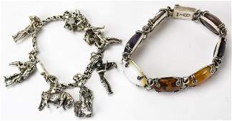 Two Vintage Mexico Sterling Silver Bracelets