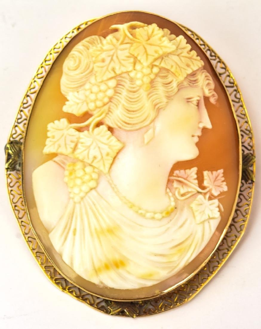 Antique 14K Large Natural Shell Cameo Pendant