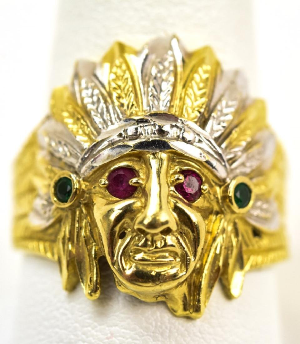 a998e1669ac8c Vintage 10kt Yellow Gold Indian Chief Ring