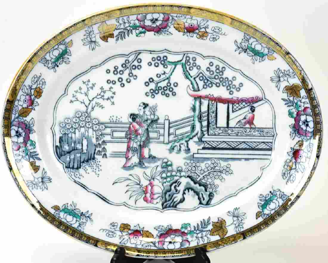 Antique 19th C Chinoiserie Ironstone Platter