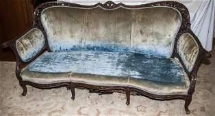 Hand Carved Mahogany Sofa w/ Green Upholstery