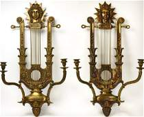 Pair Neoclassical Style Double Arm Wall Sconces