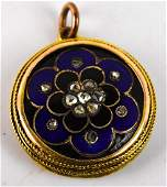Antique 19th C 14kt Gold Rose Cut Diamond Locket