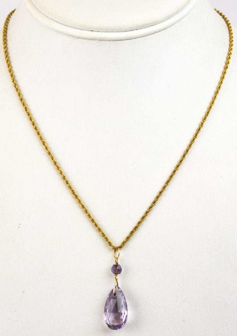 Antique 8kt Yellow Gold Chain w Amethyst Pendant