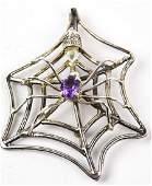 Vintage Sterling Silver Amethyst Spider Web Brooch