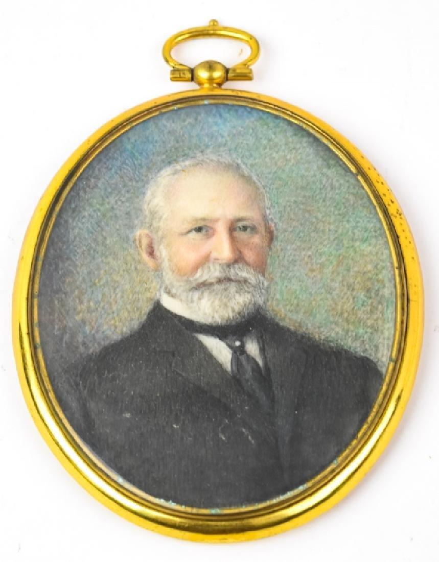 Antique Early 20th C Portrait Miniature of a Man