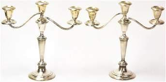 Pair Gorham Weighted Sterling Silver Candelabras