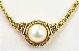 Estate 14kt Yellow Gold Diamond & Pearl Necklace