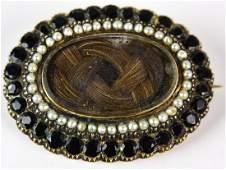 Antique 14kt Gold Garnet & Pearl Mourning Brooch