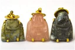 Three Carved Buddha Necklace Pendants Incld Jade