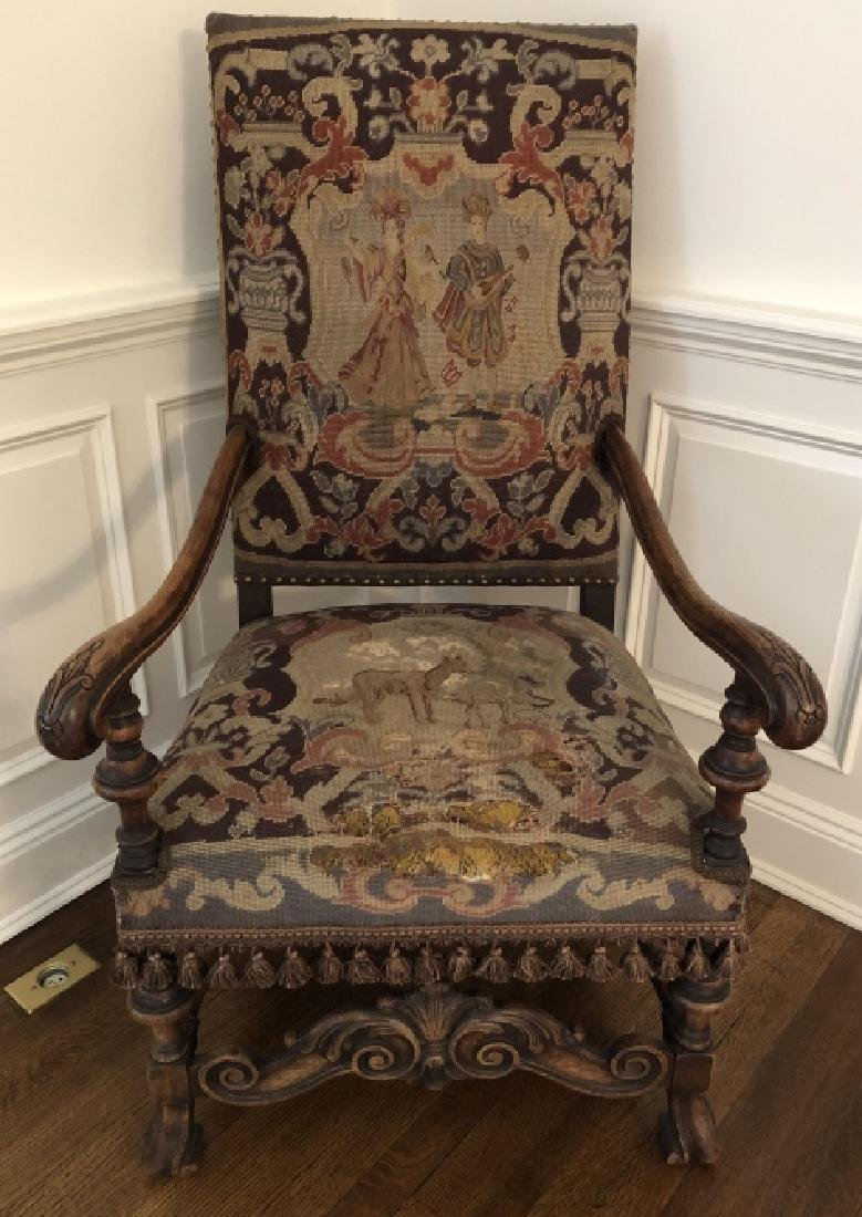 Antique Baroque Revival Arm Chair w Tapestry Seat