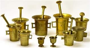 Lot of Antique Solid Brass Mortars & Pestles
