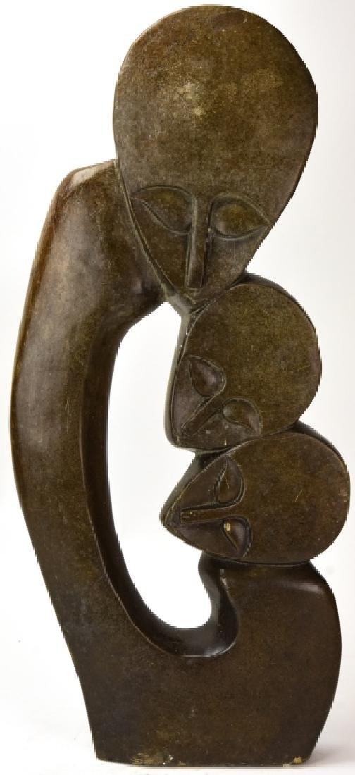 Large African Soapstone Carving Mother & Children