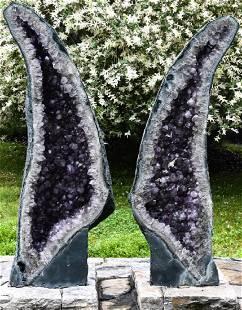 """Huge Pair of Natural Amethyst """"Angel Wings"""" Geodes"""
