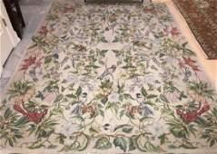 Needlepoint Tapestry Carpet w Scenes of Birds