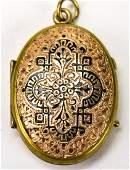 Antique 19th C Cased Gold  Enamel Locket Pendant