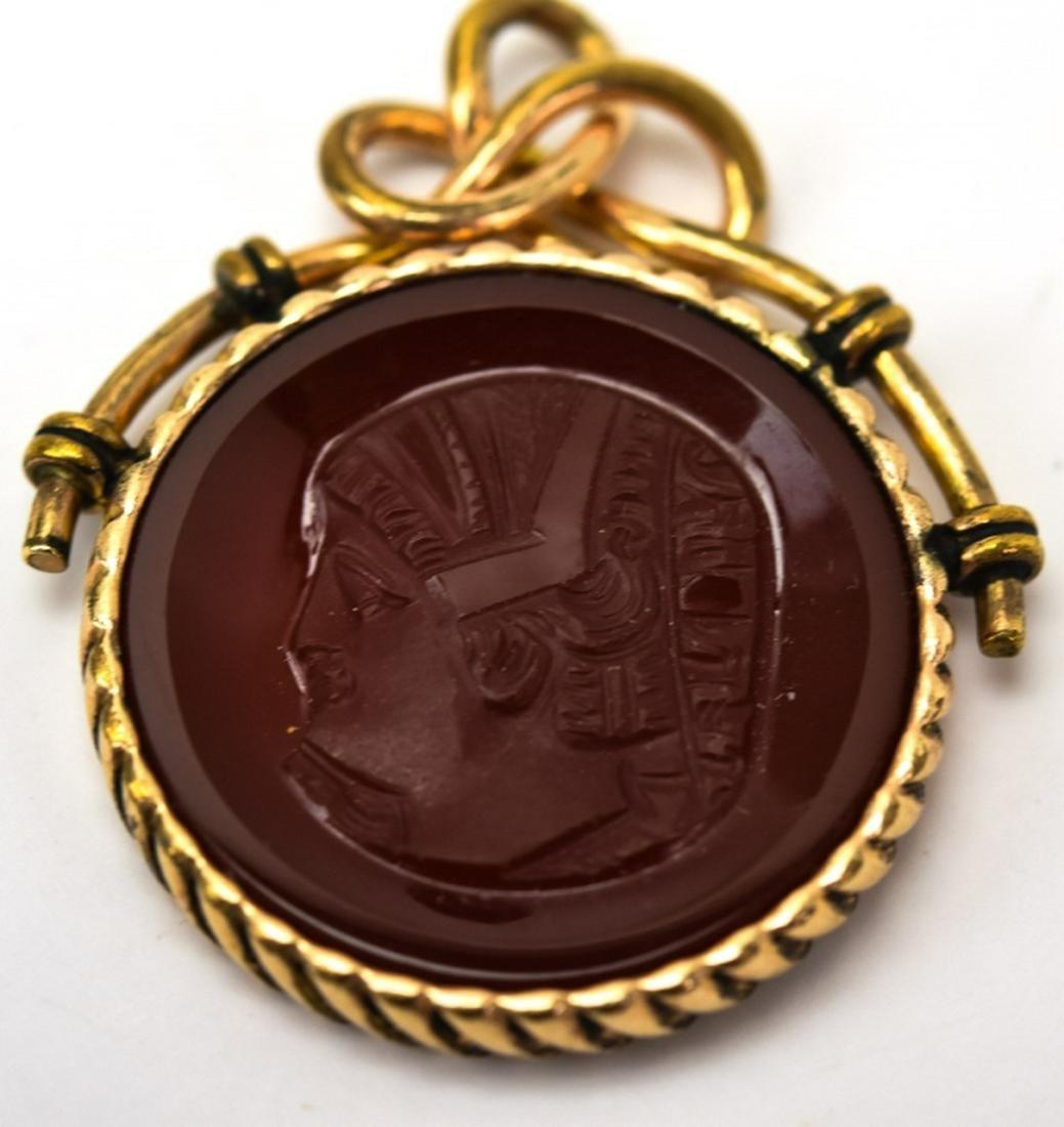 Antique 19th C 10kt Gold Cameo Necklace Pendant