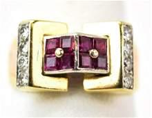 Antique Art Deco Gold Platinum Diamond  Ruby Ring