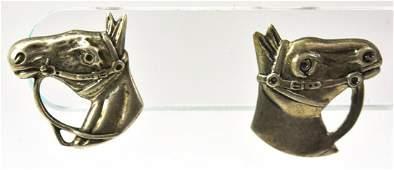 Pair Vintage Sterling Silver Equestrian Earrings