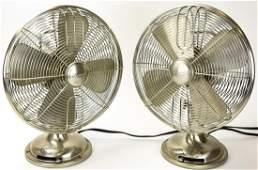 Pair Vintage Style Chrome Toned Table Fans