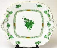 Herend Green Chinese Bouquet Relief Compote Dish