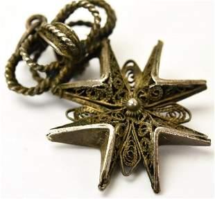 Estate Silver Filigree Iron Cross Crown Pendant