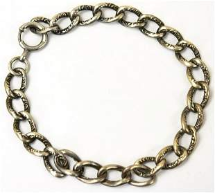 Antique Sterling Repousse Puffy Link Bracelet