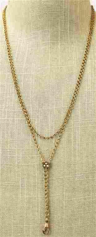 Antique 19th C Gold Filled Guard Necklace w Slide