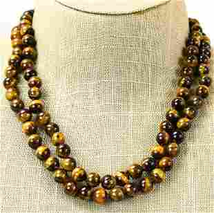 Pair of Hand Knotted Tigers Eye Beaded Necklaces