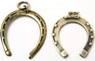 Two Vintage Sterling Silver Horseshoe Pendants