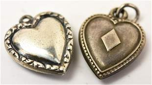 Two Vintage Sterling Silver Puffy Heart Charms