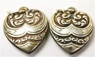 Pair of Vintage Sterling Silver Puffy Heart Charms