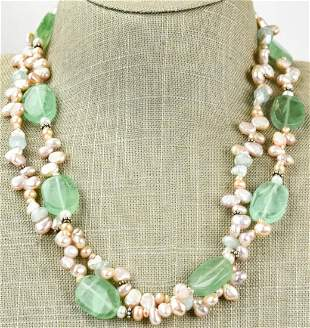 Sterling Baroque Pearls Stone Handmade Necklace