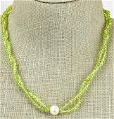 Double Strand of Faceted Peridot Beads w Pearl