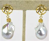 Large 14kt Gold  Cultured Baroque Pearl Earrings