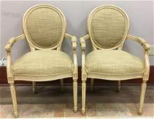 Pair Louis XVI Style Balloon Back Arm Chairs