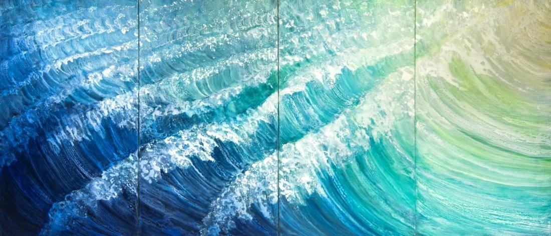"Rosamond Berg ""Second Wave"" Quadriptych Painting"