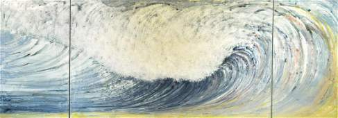 """Rosamond Berg """"The Third Wave"""" Triptych Painting"""