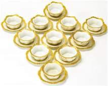 Antique MZ Austria Porcelain Cream Soup & Saucers