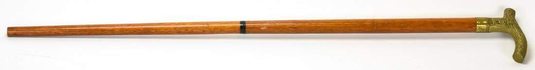 Antique Art Deco Brass Handle Cane / Walking Stick