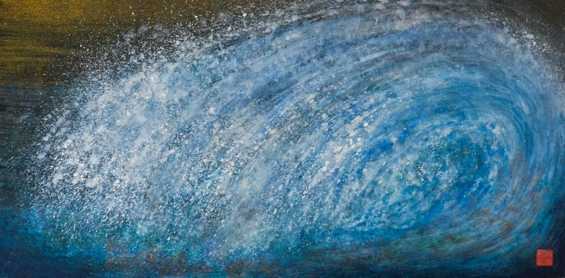 "Rosamond Berg ""Wave"" Painting on Canvas 1995"