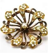 Antique 19th C 10kt Gold Enamel Pearl Pendant Pin