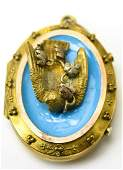 Antique 19th C Gold & Enamel Swallow Locket